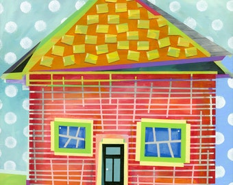 Tape painting print, fun house, wall art, home decor, house, colorful, home, housewarming gift,  to benefit Syrian Refugees