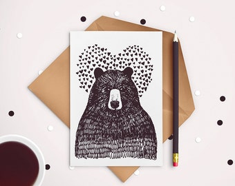Bear in love- postcard