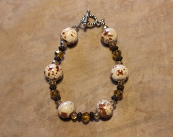 Brown and Cream Beaded Bracelet with Crystals