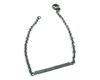 Silver Bracelet, Hand Textured, Minimalist Bar Bracelet