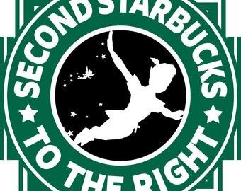 "Peter Pan ""Starbucks"" T-Shirt Design"