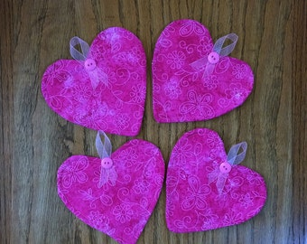 Pink Two-Tone Print Fabric Heart Coasters - Set of 4