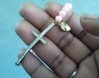 Pink Beaded Horizontal Cross Bracelet