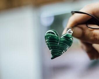 Green Swirled Heart