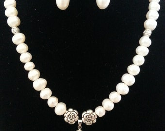 Genuine freshwater pearl bridal set.
