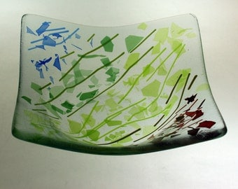 19cm square glass dish - Confetti Spectrum