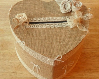 Urn in Burlap and lace
