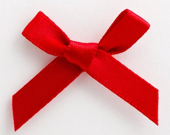 Satin Ribbon Pre Tied 3cm Bows - 100 Pack - Red