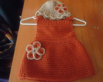 Handmade crocheted pumpkin dress and hat set