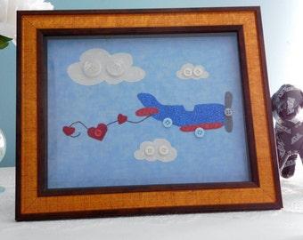 Airplane Wall Art   Appilque Framed