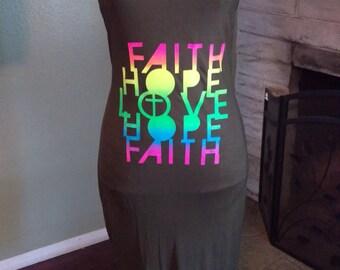 Olive green Faith Hope Love