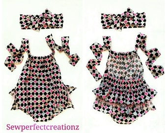 Girls Fancy Romper with Ruffles Pink, Black, Grey Print Sunsuit - Headband Included