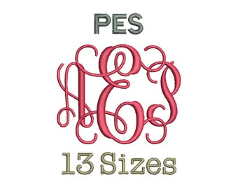 Interlocking Vine Monogram Font Embroidery Fonts - 13 Size Monogram Fonts PES File Format Machine Embroidery Font Design -  Instant Download