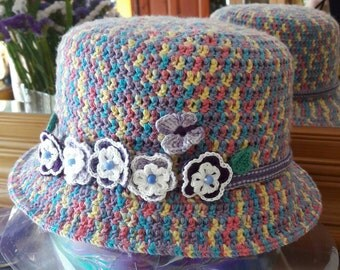 Adult handmade crochet hat with brim