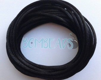 2mm black satin rattail nylon cord (20 yds)
