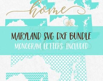 Maryland Svg Dxf Bundle Svg monogram frames svg fonts files for silhouette svg files for cricut svg files svg mermaid pattern svg vinyl