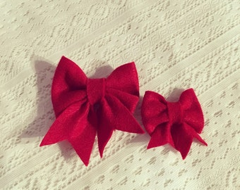 Red poppy bow headband