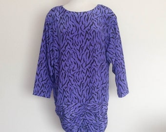 1980s Purple Leopard Print Tunic Dress Vintage