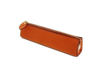 Leather Pencil Case, Leather Pen Case, Leather Pen Holder, Small Size, Camel Color