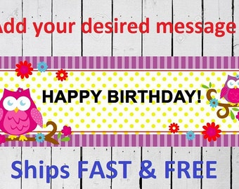 owl birthday  BANNER Custom Banner 6 Feet Long by 24 inches wide Free Shipping