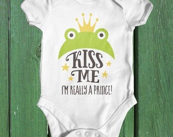 Kiss Me I'm Really A Prince Baby Bodysuit | Baby Boy Clothes | Baby Shower Gift | Funny Baby Clothes | Fairytale Baby | Animal Baby Bodysuit