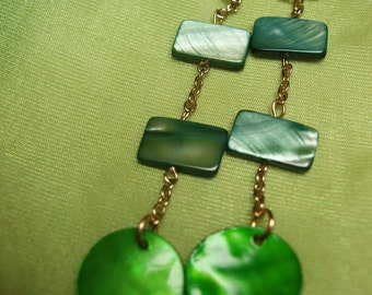 Green Mother of Pearl Dangle Earrings