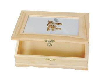 Box/box with photo frame, decoupage, wood, cm 21x15x6 .5