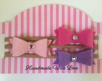 Set of 3 mini felt baby headbands.