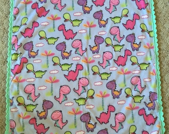 Ready to Ship Pink Purple and Green Dinosaur Fleece Baby Blanket - crochet blanket - Dinosaurs