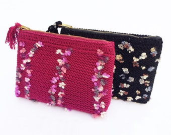 Hand knitted clutch
