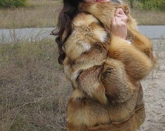 fur coat, fox fur coat.