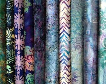 Authentic Handmade Batik 100% Cotton Fabric Quilter Fat Quarter Bundles Packs 10pcs