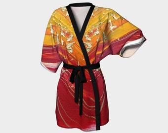 Dragonfly Kimono Robe Wedding Robes Bridesmaid Robe Kimono Knit Chiffon Bathrobe Bridal Robe Bridesmaid Gift Idea Original Abstract Art Red