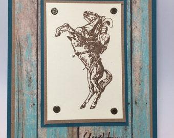 Cowboy Birthday Card, Western, Horse, Ranch, Handmade