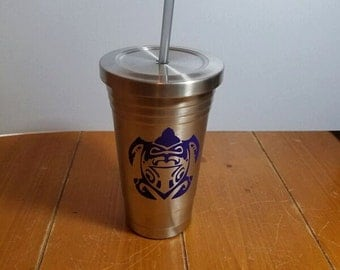Stainless Steel Tumbler with Blue Turtle