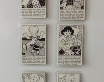 Fridge magnets.Set of 6. Early 1960's story. Nice!