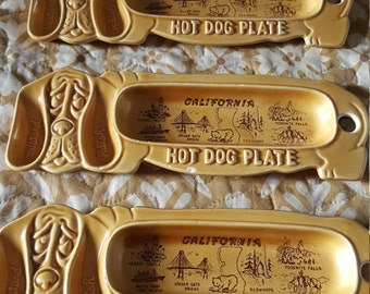 3 Pottery Hot Dog dishes