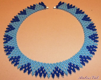 Light and dark blue beaded necklace, Hungarian folk inspiration