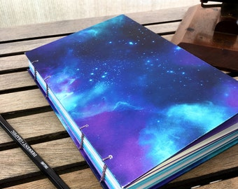 Blue Black and Purple Galaxy Journal - Travel Journal - Sketchbook  - Notebook - Handbound Journal - Handmade Book - Gift - Drawing