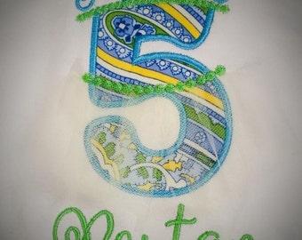 Birthday Princess Tiara Applique Birthday Shirt