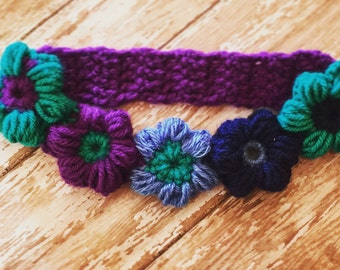 Puff flower crochet headband