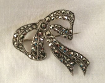 "Marcasite and Silver Victorian ""Bow"" Brooch"