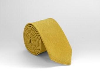 Mustard Yellow Linen Tie, Wedding Tie, Yellow Linen Tie, Mens Tie, Yellow mustard necktie - Wedding Mens Tie Skinny Necktie
