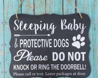 Sleeping Baby & Protective Dog Door Hanger/Sign