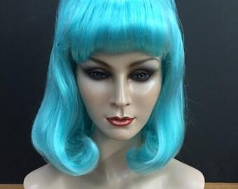 Aqua blue Mod Page wig with tiara
