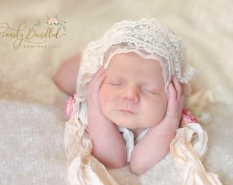 Lace Baby Bonnet - White Lace Baby Bonnet - Vintage Style Infant Girl Bonnet - Newborn Girl Photo Prop - Baby Girl Bonnet Photography Prop