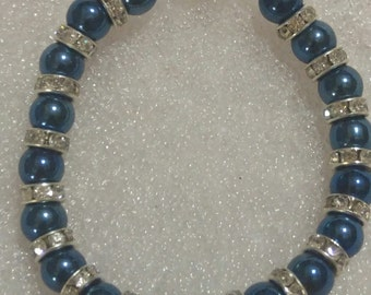 Blue & Rhinestone Beaded Bracelet