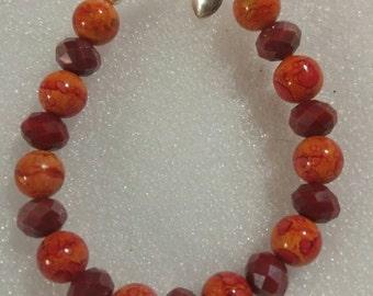 Red and Fiery Orange Beaded Bracelet