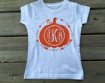 Girls monogrammed pumpkin top