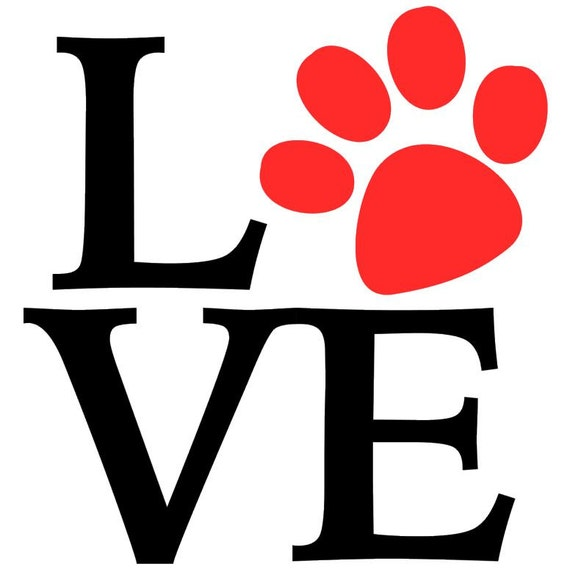 Dog Love Paw Print Decal Vinyl Stickers Laptop By Sandjdezigns
